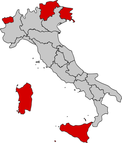 Carte des Régions d'Italie