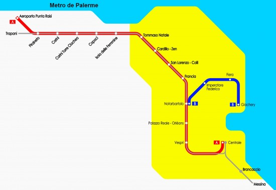 Carte Metro Palerme