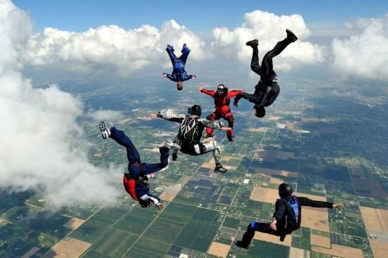 Parachute en groupe